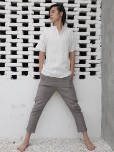 HS男装18白色棉麻舒适T恤