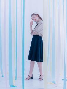 CReil女装藏青色高腰雪纺半身裙