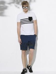万丽男装白色印花T恤