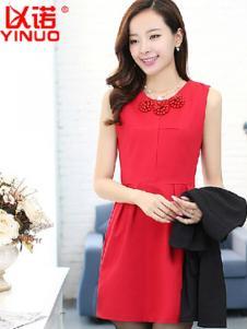 以诺女装红色修身连衣裙