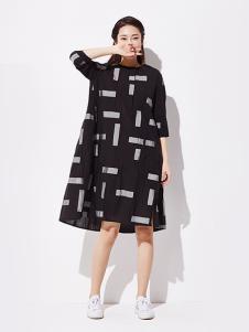 WDS女装版黑色宽松腰甜美风连衣裙