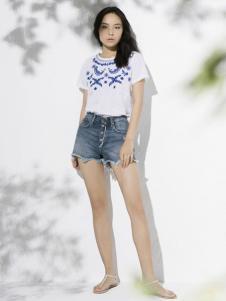 万丽夏款白色印花T恤