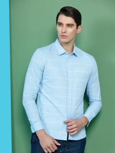 海男男装浅蓝条纹衬衫