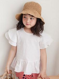 小吕宋童装纯色荷叶边T恤