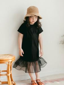 小吕宋童装黑色短袖荷叶大摆裙