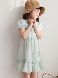 小吕宋童装格子泡泡袖女裙