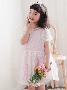 小吕宋童装粉色透纱圆点女裙