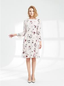 SHELIS女装米白印花连衣裙