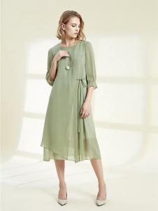 SHELIS女装青绿色雪纺连衣裙
