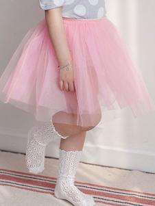 小吕宋童装粉色网纱蓬蓬裙