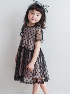 小吕宋童装圆点透纱女裙