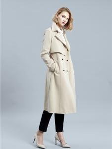SHELIS女装米白色双排扣风衣