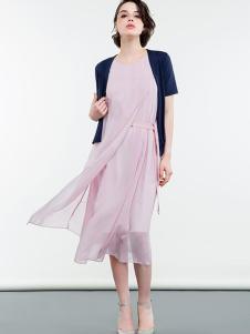 SHELIS女装粉色雪纺连衣裙