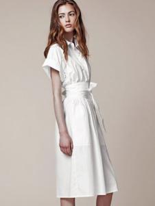 JILL STUART女装白色长款衬衫