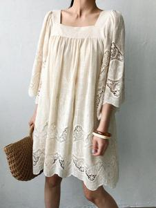 Naning9女装白色蕾丝连衣裙