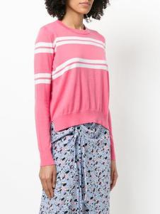 allude女装粉色条纹针织衫