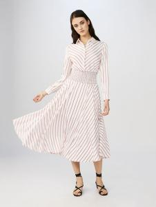 maje女装条纹淑女连衣裙