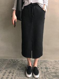 Naning9女装黑色长款开叉半身裙