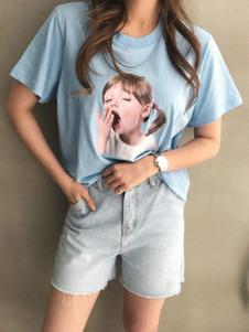 Naning9女装蓝色圆领T恤