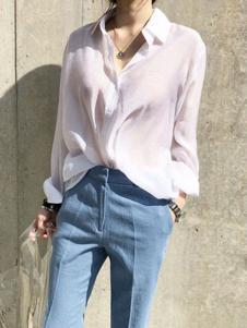 Naning9女装白色微透衬衫