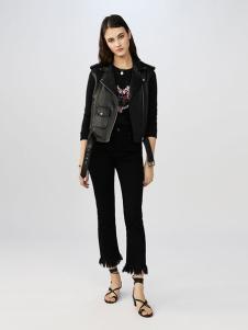maje女装黑色直筒磨毛休闲裤