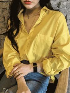 Naning9女装黄色翻领衬衫