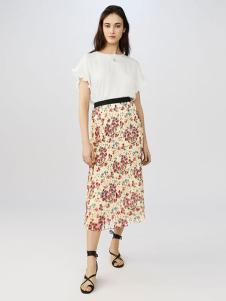 maje女装碎花修身半身裙