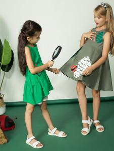 水孩儿18女童绿色连衣裙