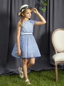 水孩儿女童无袖蓝色连衣裙