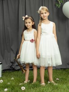 水孩儿女童18白色夏款连衣裙
