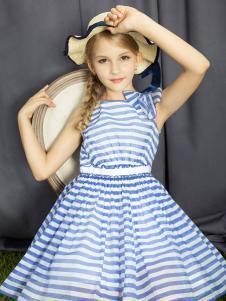 水孩儿女童海军风连衣裙