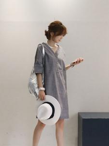 Naning9女装灰色连衣裙