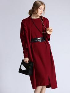 SOFEYA女裝紅色針織連衣裙