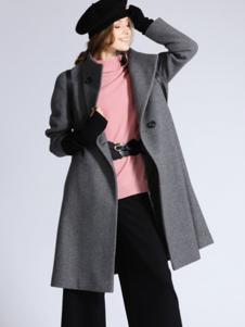 SOFEYA女裝灰色單排扣大衣