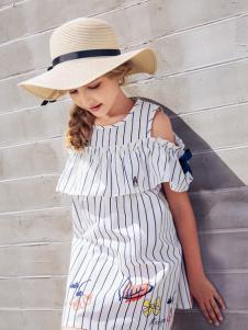 暇步士童装新品淡蓝色条纹漏肩连衣裙