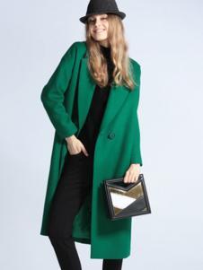 SOFEYA女裝綠色單排扣大衣