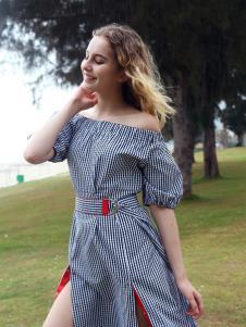 欧玥夏季新款一字肩连衣裙
