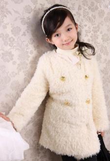 蓝贝壳女童白色冬款外套