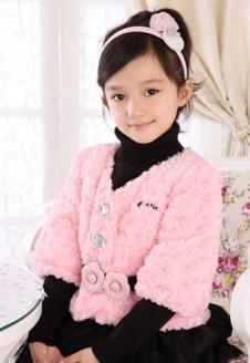 蓝贝壳女童冬款粉色甜美外套