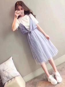 IDG女装蓝色格子连衣裙