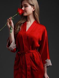 珊目尔内衣家居新品大红色女士睡袍