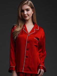 珊目尔内衣家居新品大红色女士丝绸家居服