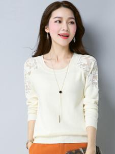 素影女装米白色蕾丝T恤