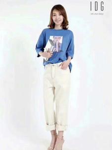 IDG女装米白色直筒休闲裤