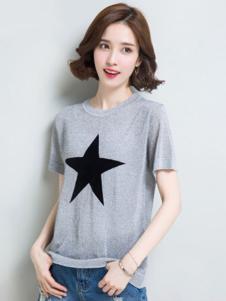 素影女装灰色星星T恤