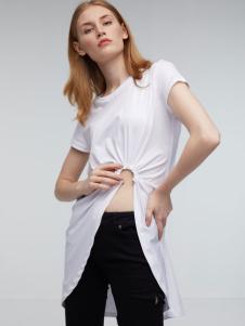 玛革诺施女装白色长款T恤