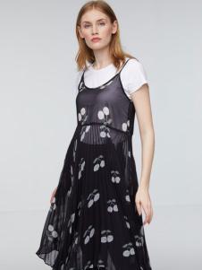 玛革诺施女装黑色网纱连衣裙