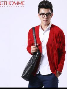 杰克托米男装红色针织开衫