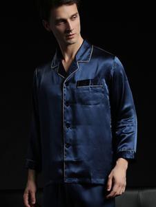 珊目尔内衣家居新品深蓝色丝绸男士家居服