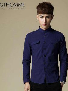 杰克托米男装深蓝牛仔衬衫